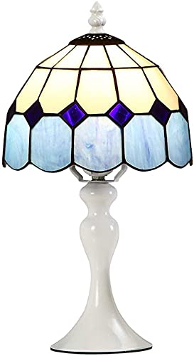 8 pouces Traditionnelle Lampe de Bureau lampe de lecture de chevet blanc bleu orange vitrail antique abat-jour décoration lampe de bureau pour salon chambre étude