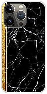 Etui na Apple iPhone 13 Pro - etui na telefon Design Case - Czarny marmur ze złotym paskiem - guma case obudowa silikonowa...