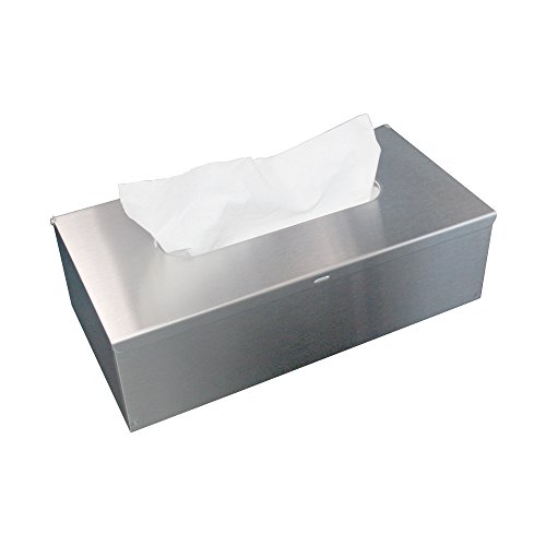 JunSun Rectangle Paper Facial Tissue Box Cover Napkin Holder Tissue Box Holder -Wall Mounted or Freestanding Use for Bathroom Bedroom Night Stands Desks and Tables-Stainless Steel, Brushed Nickel
