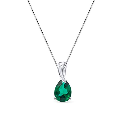 Miore collar de mujer oro blanco 9 kt 375 con esmeralda verde y longitud 45 cm