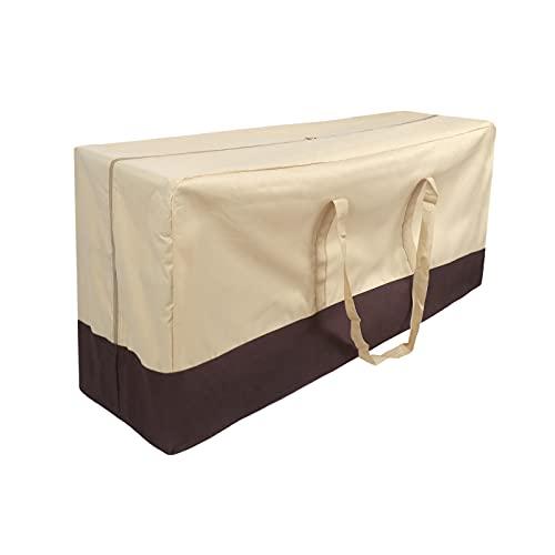 ZRSWV Funda para muebles de patio al aire libre, bolsa de almacenamiento con cremallera y asas, mesa rectangular de 45 x 20 x 14 pulgadas, resistente al agua, organizador de tela Oxford 600D
