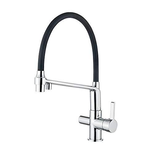 Ibergrif-M22127-2 Osmose-keukenkraan met flexibele uitloop en handdouche, 2-in-1 sproeiapparaat voor waterfilter, keukengootsteen, chroom