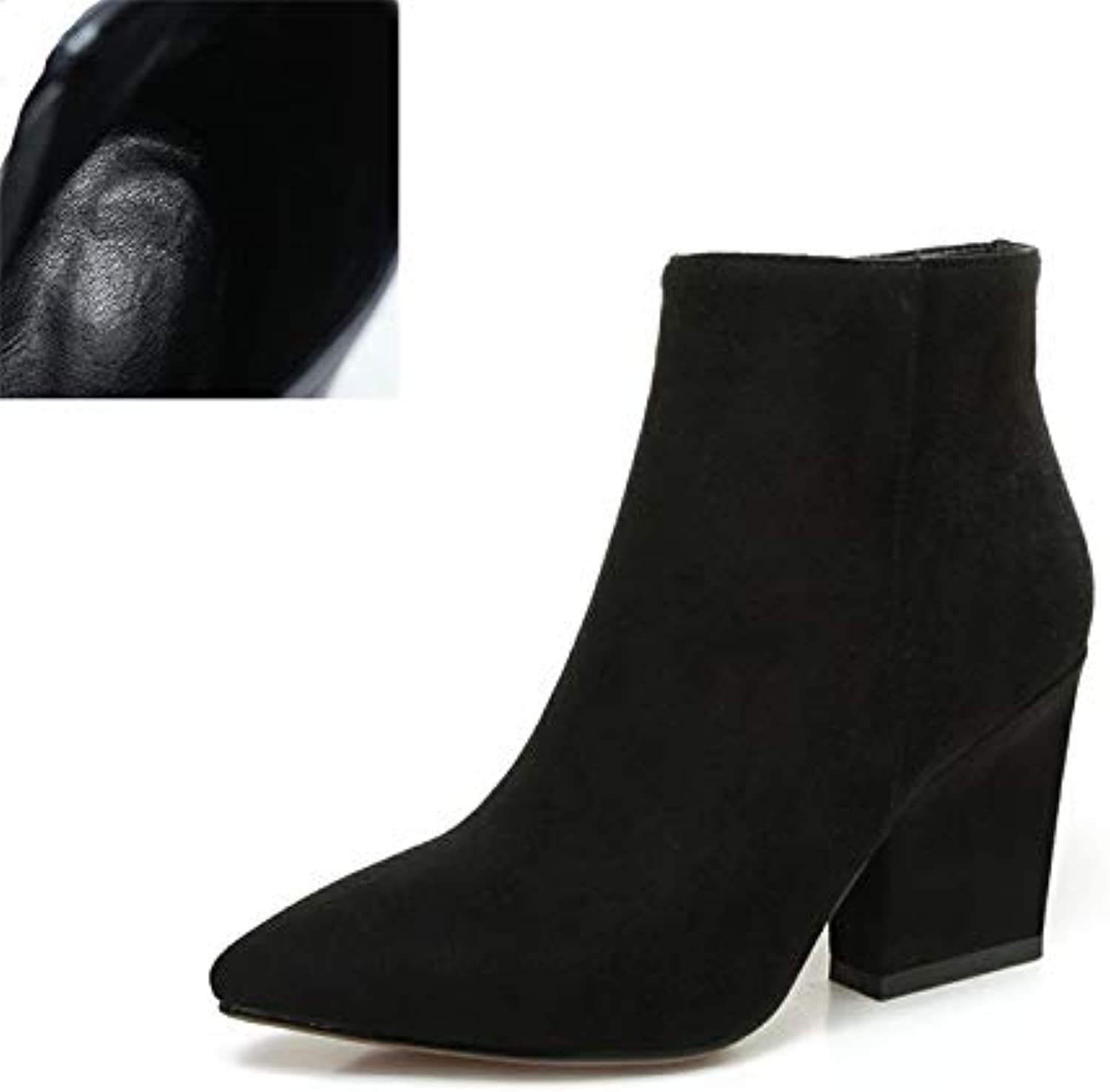 Fumak 2018 Autumn Solid OL Mature Black Ankle Boots Women Zip Closure Pointed Toe High Heels shoes Woman Large Size 32-43