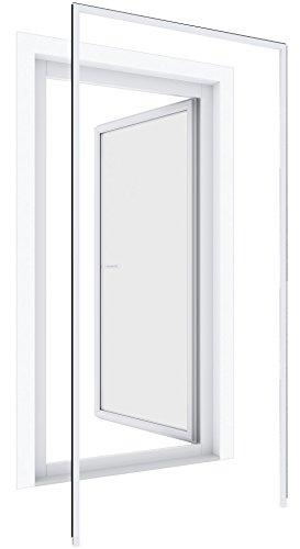Windhager Insektenschutz Montagerahmen Premium bohrfrei Insektenschutzrahmen Fenster Türen montieren, individuell kürzbar, 125 x 245cm, weiß, 03858