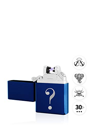 TESLA Lighter T03 Lichtbogen Feuerzeug, mit Wunsch-Gravur, personalisiert als Geschenk zu Weihnachten, Geburtstag etc. Elektronisches Feuerzeug, wiederaufladbar per USB inkl. Geschenkverpackung Blau