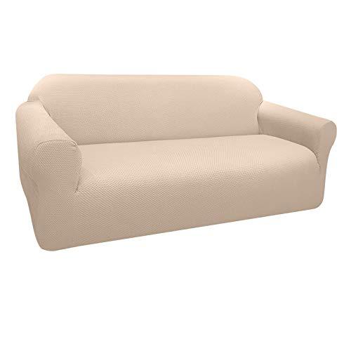 Granbest Funda de Sofá Elástica Súper Gruesa con Diseño Elegante Universal Funda Sofá 3 Plaza Antideslizante Protector Cubierta de Muebles (3 Plaza, Beige)