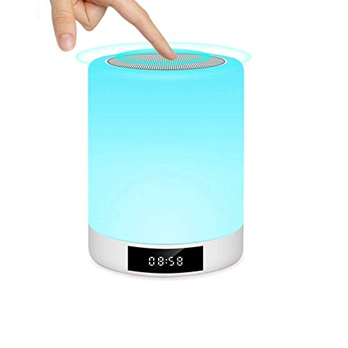Night Lights Bluetooth Speaker, Touch Sensor Bedside Lamp with Alarm Clock, Mp3 Music Player, Fm Radio, Touch Control Led Lamp Dimmable Warm Lights &amp, 7 Colors, Best Gift for Kids, Party
