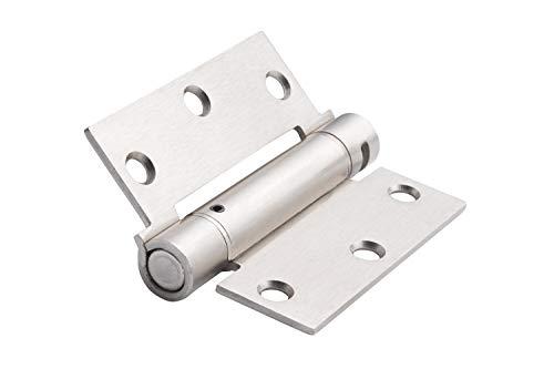 "Global Door Controls CPS3535-US15-M Square Corner Imperial USA X 3.5 Full Mortise Spring Door Hinge-Set of 3, 3.5"" x 3.5"", Satin Nickel, 3 Piece"