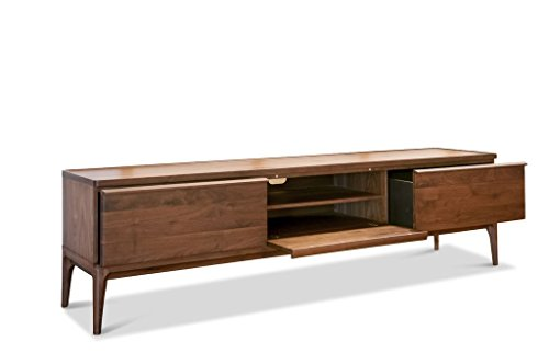 Mueble TV de Nogal Hemët - Madera Maciza, Estética Atemporal, Producto 100% de Madera | Gran Formato, practicidad y Elegancia de una Madera Noble - PardoNuez (L200 x H55 x P45 cm)