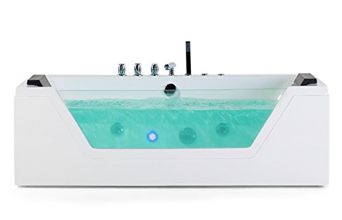 Bañera de hidromasaje Samurai con 10 boquillas de masaje + iluminación LED bajo el agua / luz + bañera independiente con cristal Hot Tub Spa para interior