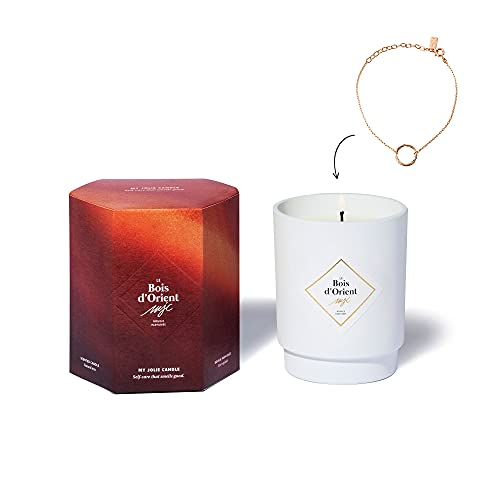 My Jolie Candle, candela profumata con gioiello all interno ambra (il legno d oriento), bracciale placcato oro, 50 ore di combustione, cera 100% naturale vegetale, 250 g