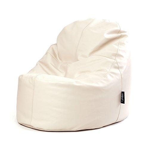 MiPuf - Puff Lounge Original - 80x115x90 cm - Tejido Polipiel Alta Resistencia - Doble Costura y Doble Cremallera - Relleno Incluido - Beige - 4 años de Garantía