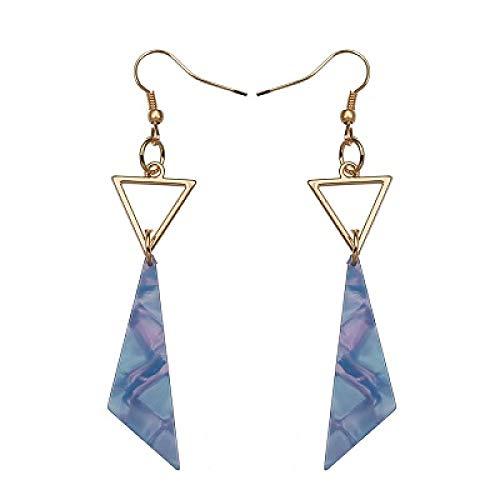 LKJHG Pendientes Mujer, Vintage Azul Acrílico Dorado Metal Triángulo Simple Fiesta Encanto Elegante Cuelga Anillo Colgante Pendientes para Mujeres Hombres Damas Niña Regalos