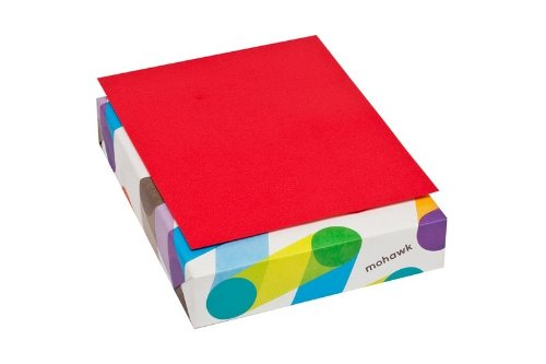 Mohawk BriteHue Red 24 lb/60 Vellum Text Paper 8.5x11 Inch 500 Sheets/Ream (Sold as 1 Ream) (101337)