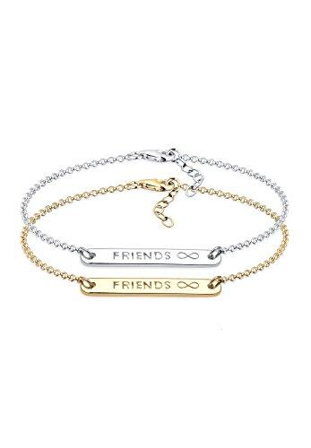 Elli Damen Schmuck Armband Gliederarmband Friends Forever Freundschaftsarmbänder Freundschafts-Set Silber 925 Vergoldet Länge 17 cm