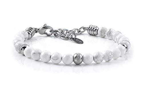 10:10 Bracciale con pietre naturali di aulite da 6 mm, beads in acciaio inox, bracciale molto resistente prodotto in Italia