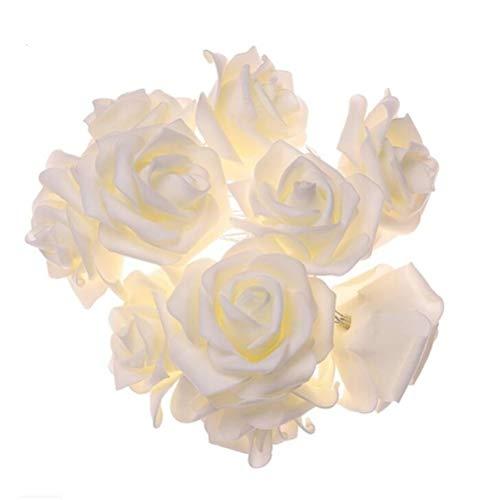 Rose Lichterkette mit 20 LED warm weiß Batterie transparentes Kabel Lichterkette mit Blumen Kunstblumen Romantische Atmosphäre Deko für Innen