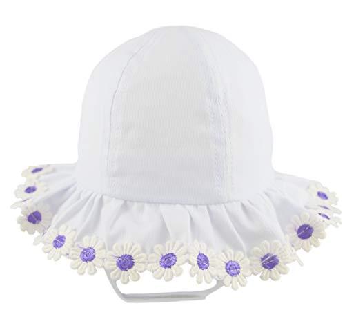 Pesci Baby Mädchen Sonnenhut mit Kinnriemen Sommerhut mütze mit Rüschen Krempe und Gänseblümchen, 3-6 Monate, Weiß/Lila
