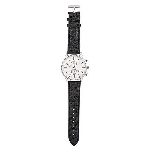 Reloj de pulsera Relojes deportivos Reloj de cuarzo Reloj con banda de cuero Relojes de pulsera analógicos Reloj analógico electrónico Reloj para(Black with white noodles)