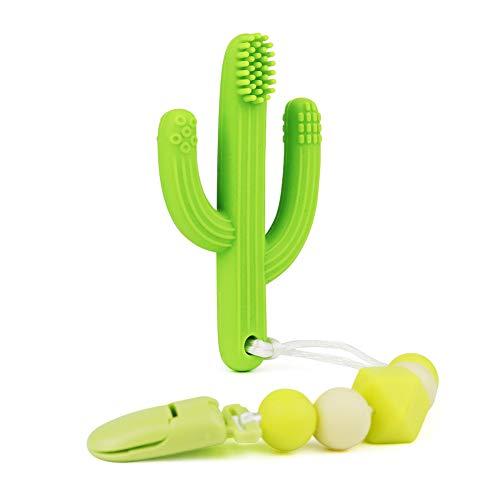 KEFU beißring baby kühlend Kaktus Zahnbürste und Beißring 100% BPA Frei,mit Silikon Schnullerketten,Baby Beissring für erste Zähne bereits ab 3 bis 12 Monate geeignet