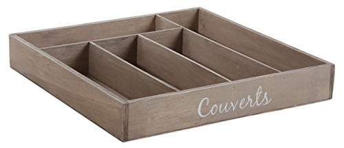 Range-couverts en bois 5 compartiments
