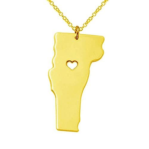 Kkoqmw Collar con Mapa Collar con Colgante de corazón con Mapa de Vermont de Acero Inoxidable Dorado