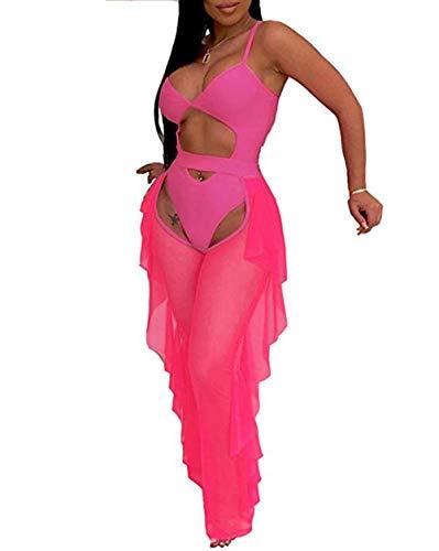 Rela Bota Damen Sexy Bralette und Slip aus Netzstoff, durchsichtig, lang, 3-teiliges Outfit oder Zweiteilige Clubwear - Pink - Klein