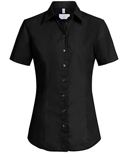 GREIFF Damen-Bluse Basic, Regular Fit, Stretch, Easy-Care, 6516, schwarz, Größe 40