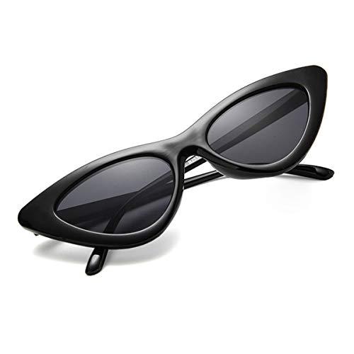 Greatangle-UK Gafas de Sol de Ojo de Gato Triangulares Retro Tendencia Europea y Americana Gafas de Sol de Caja pequeña para Mujer Gafas de Sol Lentejuelas Negras Grises