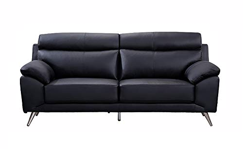 American Eagle Furniture EK528 Modern Top Grain Italian Leather Living Room Sofa, 80', Black