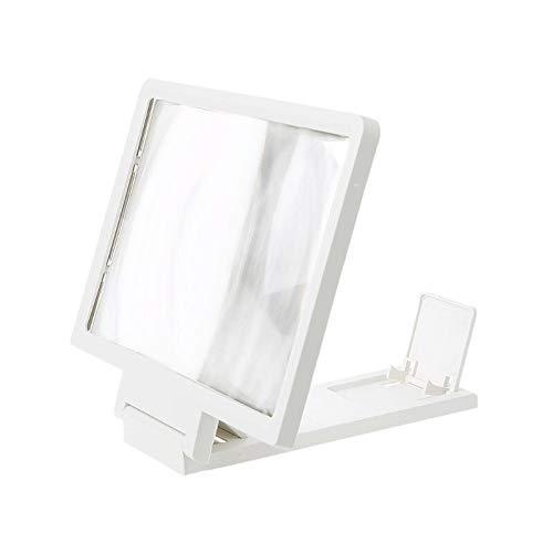 CLJ-LJ Amplificador de pantalla 3D para teléfono móvil con lupa HD soporte para pantalla plegable de vídeo, soporte de protección de ojos ampliado (color: blanco)