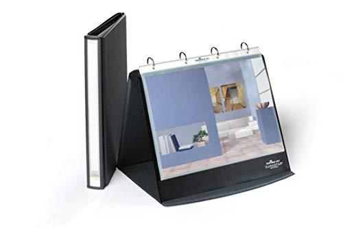 Durable 856739 Tisch-Flipchart Durastar, mit 10 PP-Hüllen, A4 quer, beschriftbar & erweiterbar, basalt