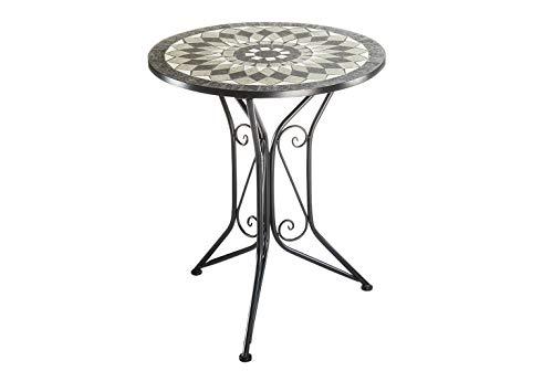 Kobolo Gartentisch Metalltisch mit Mosaikplatte - H70 cm x D60 cm - grau