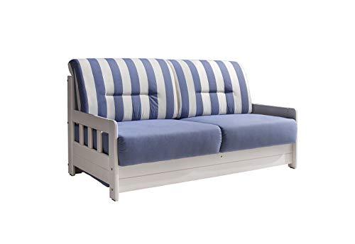 lifestyle4living Schlafsofa in Blau/Weiß zum Ausziehen mit 2 Liegeflächen | Microfaser/Massivholz/Federkern | Gemütliches Sofa mit Schlaffunktion im LandhausStil