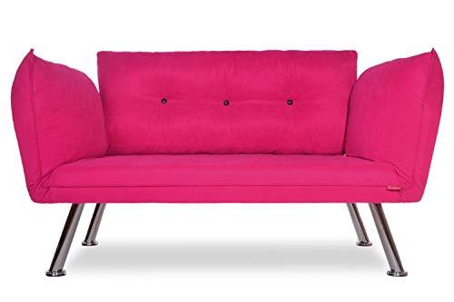 Easysitz Sofa 2 Sitzer Schlafsofa Zweisitzer Klein 2-Sitzer Couch Schlafsessel Bettsofa Futon Bed Sessel Sitz Kleines Sitzen für Er EIN Einer Zweier Mein Personen Farbauswahl (Pink)