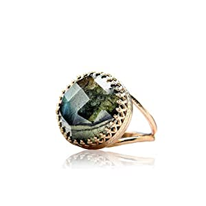 Rose Faceted Labradorite Ring in 14K Rose Gold Band