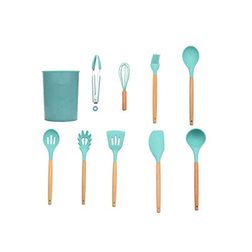 Silicone Kitchenware 11 Pieces Set Kitchen Tools Wooden Handle Shovel Spoon Non-oil Stick Cookware Set Baking Tool Scraper-9 piece set (including storage barrel)-