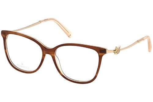 Swarovski Gafas anteojos SK5304 047 brown marco de plástico del tamaño de 53 mm de gafas de sol de las mujeres