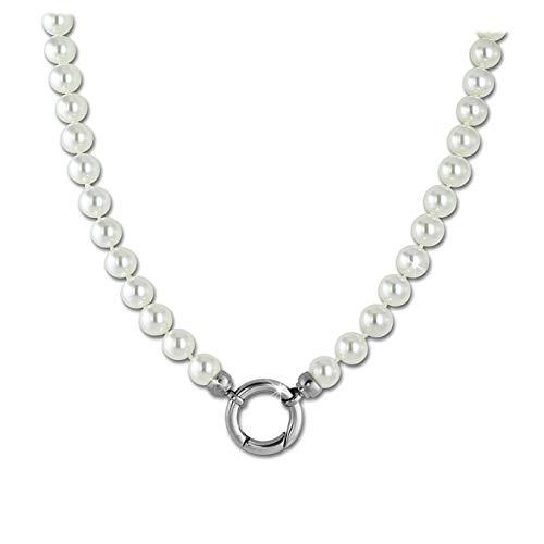 Amello Coin Kette 80cm Perlenkette Stahl Damen Muschelperlen weiß Silber D3ESC112W
