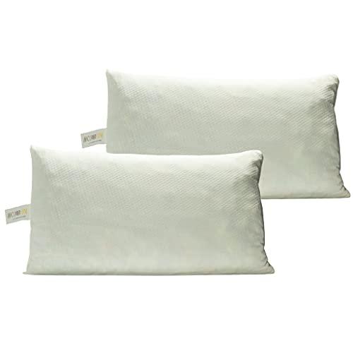 COMFY LINE - Coppia di Cuscini da Letto Matrimoniale in Fiocco di Memory Foam, Guanciale Ortopedico, Alto 12 cm 40x70, per Dormire e Cervicale, Fodera Cotone