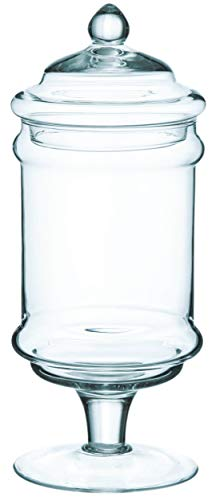 INNA-Glas Bonbonnière sur Pied Dani, Verre Transparent, 30cm, Ø 12cm - Bocal à bisucuits - Bocal de Stockage