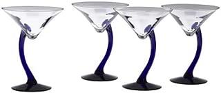 Libbey 4-Piece Cobalt Swerve Martini Set