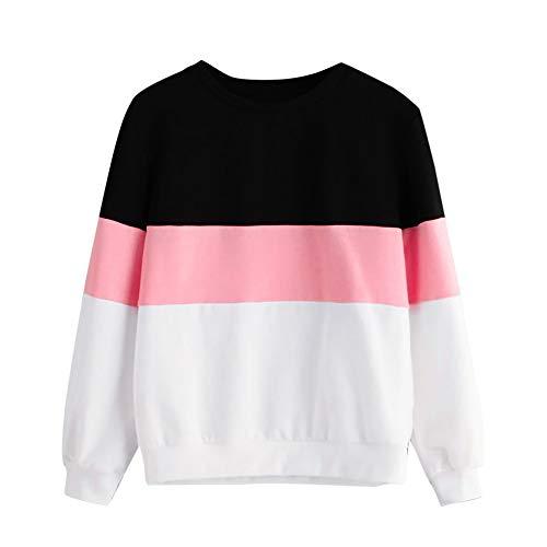 VEMOW Heißer Damen Frauen Casual Farbe Patchwork Sweatshirt Langarm Kurz Täglich Sport Freizeit Workout Pullover Tops Bluse(X1-Rosa, 38 DE/L CN)