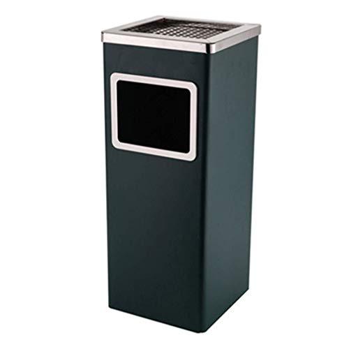 NYDZDM trash can - Interior, acero inoxidable, interior de plástico, antihuellas, para hoteles, espacios públicos (color: verde oscuro)