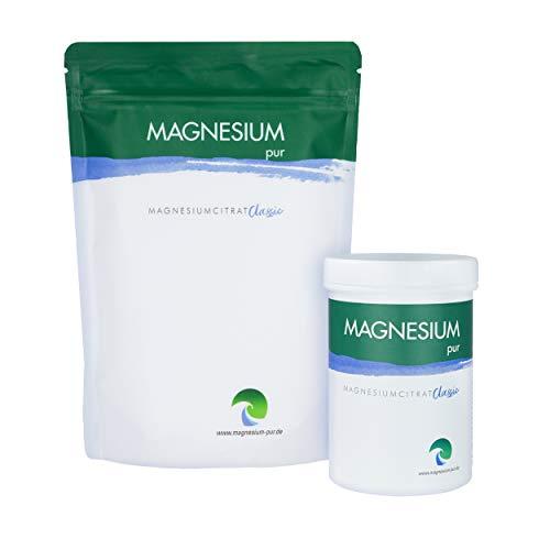Magnesium Pur - Pulver Starterset 500g Beutel und 300g Dose, pures Magnesiumcitrat Pulver, hoch bioverfügbar, vegan, ohne Zusätze
