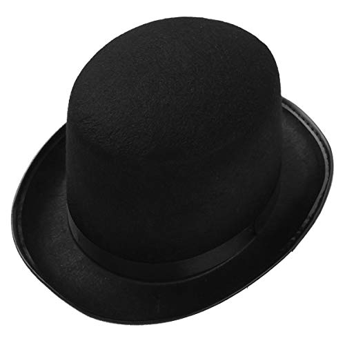 ranrann Unisex Zylinder Hut Filz Hut Chapeau Gentleman Zauberer Kinder Erwachsene Kostüm Accessoire für Party Karneval Schwarz Erwachsene