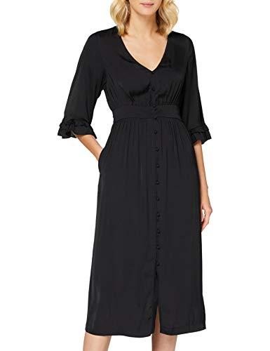 Scotch & Soda Maison Damen Midifit V-Ausschnitt Kleid, Schwarz (Black 0008), Small (Herstellergröße: S)