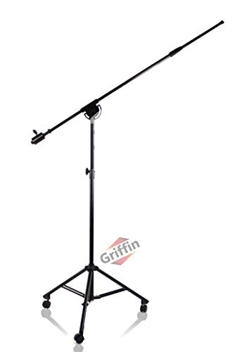 GRIFFIN Professional Studio Microphone Boom Stand with Casters   Extended Height Recording Mic Holder Tripod on Wheels   Tall Telescoping Arm Mount & Retractable Legs for Vocals, Choir, Overhead Drums
