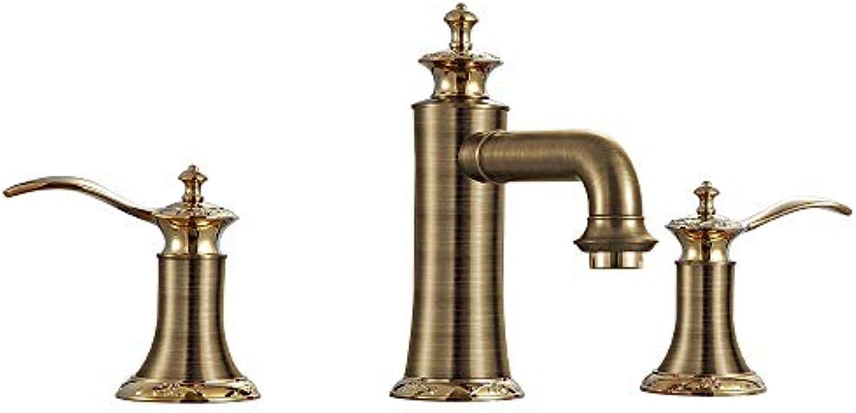 Antike weit verbreitete Wasserfall-Keramikventil zwei Griffe ein Loch RoséGold, Waschbecken Wasserhahn, schwarz rot, Golden
