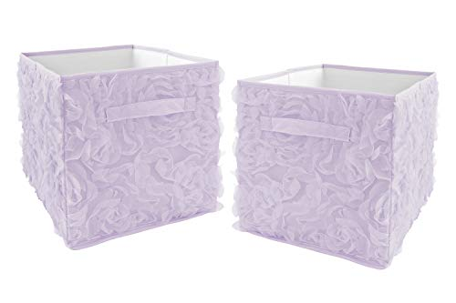 Sweet Jojo Designs Purple Floral Rose Foldable Fabric Storage Cube Bins Boxes Organizer Toys Kids Baby Childrens - Set of 2 - Solid Light Lavender Flower Princess Vintage Boho Shabby Chic Luxury Glam
